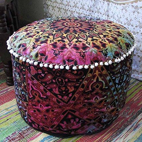 Aunercart Multi Star Mandala Ottoman Pouf Cover Ottoman Round Indian Ottoman Poof Pouffe Foot Stool Ethnic Decorative Ottoman by Aunercart