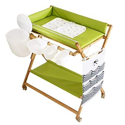 Perfect QZ Wooden Foldable Changing Table On Wheels, Boys Waterproof Portable  Diaper Station Dresser Organizer (