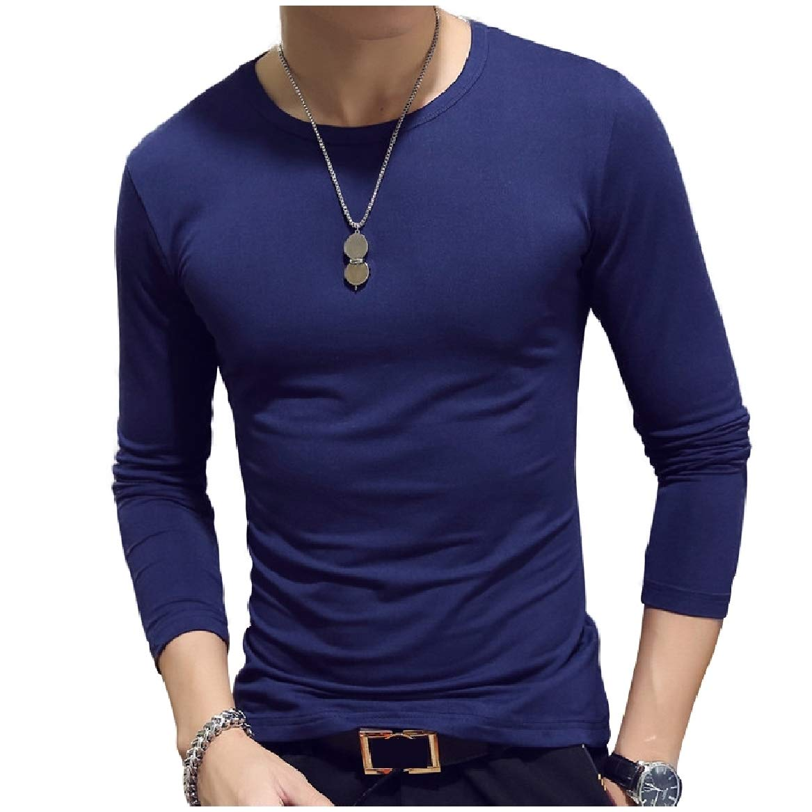 Sayah Men's Pure Pullover Chic Soft Pullover Long-Sleeve Silm Fit Tees AS14 L