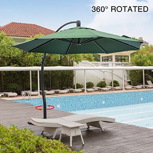 Mefo garden 11.5 Feet Offset Patio Umbrella, 360 Rotated Cantilever Umbrella with Tilt System for Outdoor Parties, Courtyard, Aluminum, 250gsm Round Canopy, Dark Green
