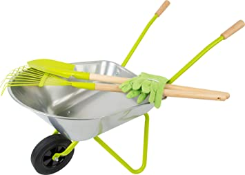 small foot Carretilla con herramientas de jardín, incl. guantes, pala y rastrillo. Juguetes de exterior y aire libre (11627) , color/modelo surtido: Amazon.es: Juguetes y juegos