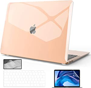 KCIWGM MacBook Air 13 inch Case 2020-2018 Release A2337 M1 A2179 A1932 (Touch ID), Crystal Clear Plastic Hard Shell + Keyboard Cover + Screen Protector + touchpad Protector for Mac Air 2020 Case