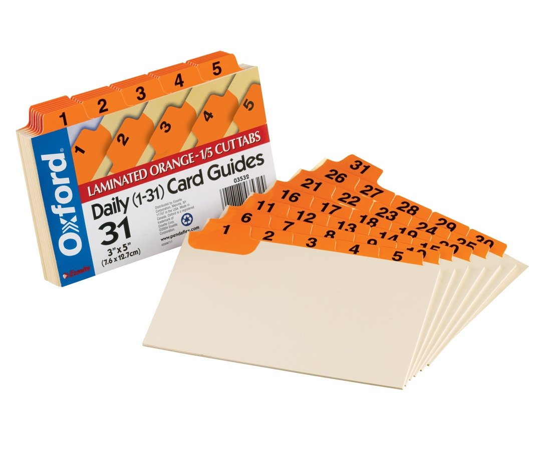 Oxford Index Card Guides with Laminated Tabs, Daily