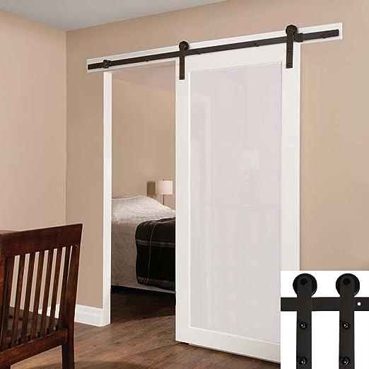 Hahaemall 6,6 pies/2 m cierre moderno acero vía única puerta corrediza de granero madera Hardware rodillo con Kit de cierre suave: Amazon.es: Bricolaje y herramientas
