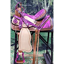 Western Barrel Racing Trail Pleasure Leather Horse Saddle Headstall Collar Set
