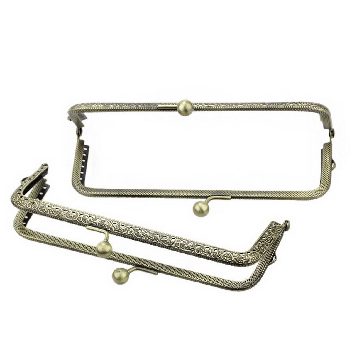 HOUSWEETY 3PCs Metal Purse Bag Frame Kiss Clasp Lock Bronze Tone 15.5cmx7cm