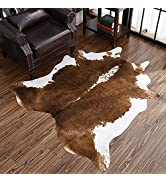 HOMORE Cowhide Rug, Cute Cow Print Rug for Living Room Faux Cow Hide Animal Print Carpet for Bedr...
