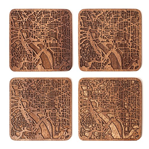 Washington D.C. Map Coaster by O3 Design Studio, Set Of 4, Sapele Wooden Coaster With City Map, Handmade