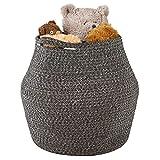 Goodpick Cotton Rope Storage Basket - Woven Basket Baby Laundry Basket for Storage Plant Pot Beach Bag Kids Toys Home Decor Blanket Basket Planter Basket, 16.1'' × 14.9 ''× 11.8''