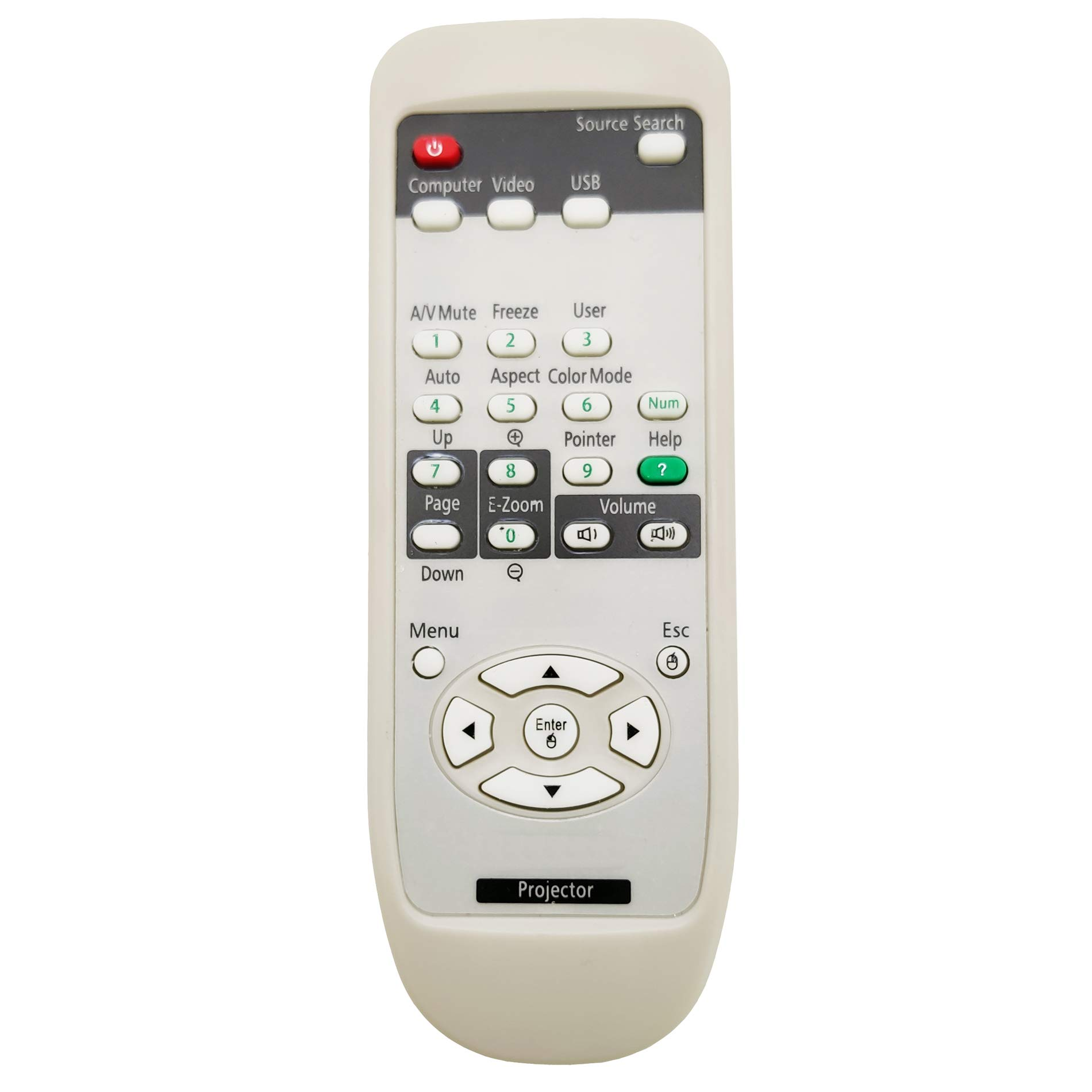 InTeching 1515068/1519442 Projector Remote Control for Epson EX3200, EX5200, EX7200, VS200, BrightLink 455Wi-T, PowerLite 1220, 1260, S7, S9, W7, X9, 825+, 826W+, 84+, 85+, 92, 93, 935W, 95, 96W by INTECHING