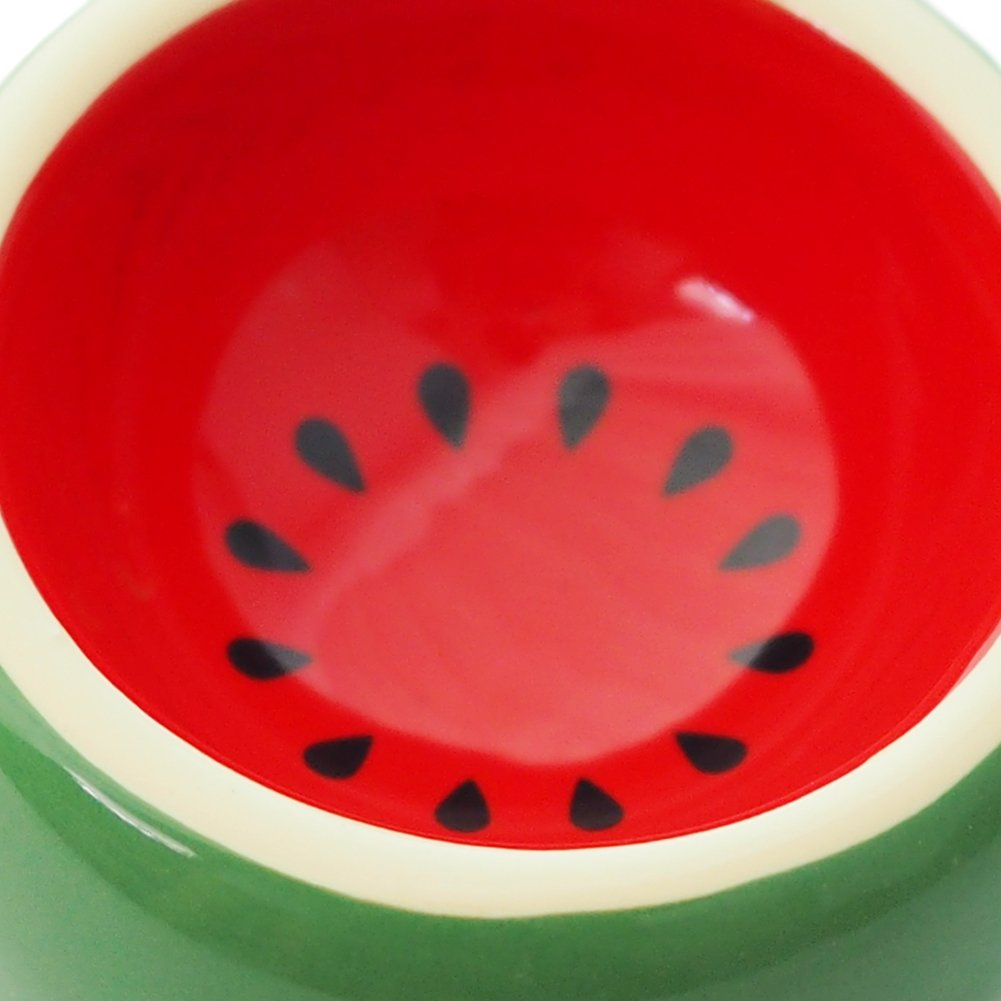 Hamster Food Bowl Ceramic Prevent being Tipped over Small Animal Water Dish for Guinea Pig Rodent Gerbil Cavy Hedgehog Feeding Bowl (Watermelon) by OMEM (Image #4)
