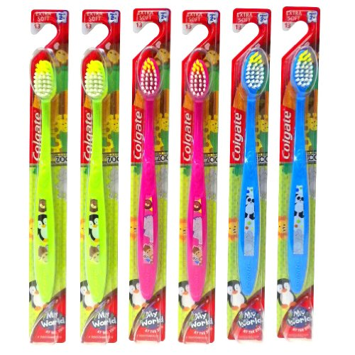 Colgate My World, au zoo, brosse à dents (Pack de 6) pour enfants Extra Soft