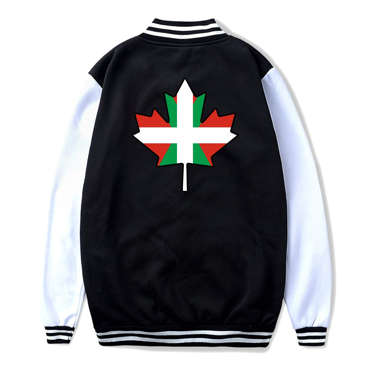 Unisex Youth Baseball Uniform Jacket Basque Flag Canada Maple Leaf Hoodie Coat Sweater Sweatshirt Back Print