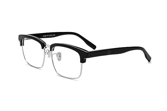 f1a0d189435 HEPIDEM Acetate Square Optical Glasses Frame Spectacle Eyeglasses Eyewear  5234 (Black Silver)