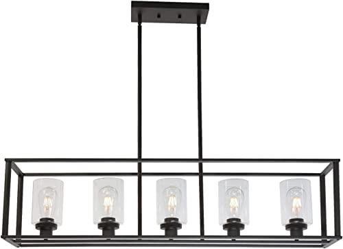 VINLUZ 5 Light Dining Room Chandelier Farmhouse Oil Rubbed Bronze Kitchen Island Pendant Light Finish with Clear Glass Shade for Kitchen Cafe Bar