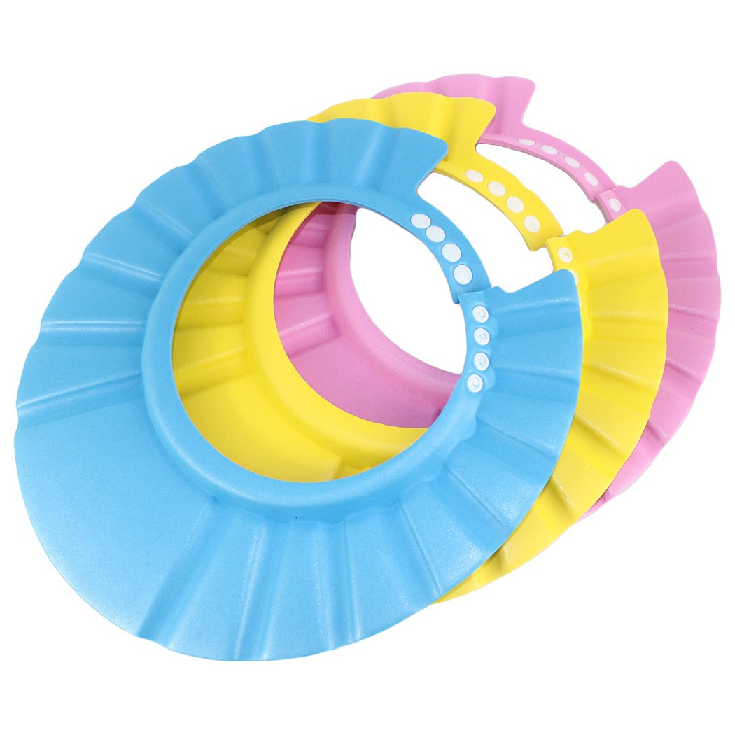 Dianoo Children Baby Kids Waterproof Bathing Cap Shampoo Shower Protect Hat Adjustable Set of 3 worth2buy