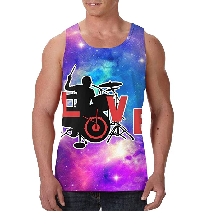 9e517d2eb Amazon.com: Mens Print Graphic Tank Tops Love Music Drummer Sports ...