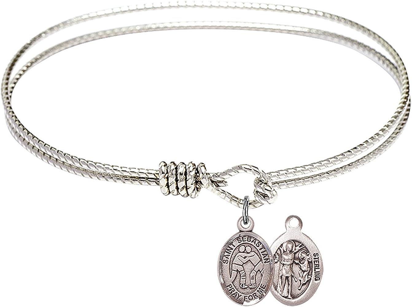 DiamondJewelryNY Double Loop Bangle Bracelet with a St Christopher//Football Charm.