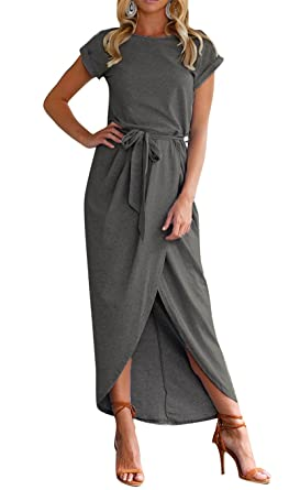 85d1cac5a317ce TBONTB Womens Casual Maxi Dress with Short Sleeve Solid Slit Long Dress  X-Small Deep