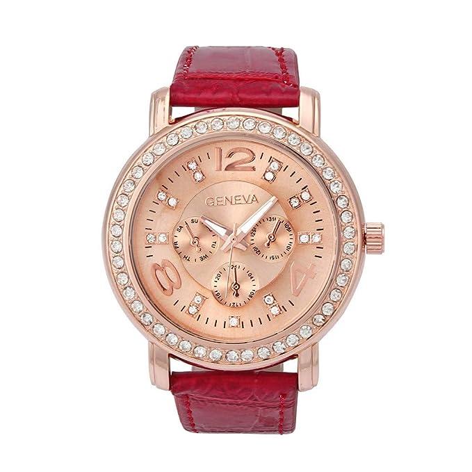 Bestow Reloj de Diamantes Geneva Reloj de Pulsera de Cuarzo Analšgico de Cristal Rhinestone de Lujo para Mujer(Blanco): Amazon.es: Ropa y accesorios