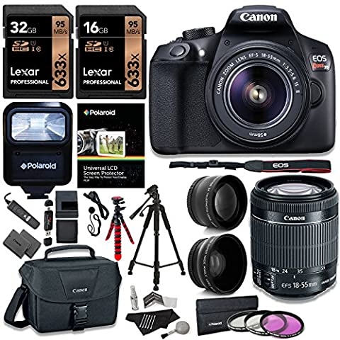 Canon T6 Digital Rebel SLR Camera Kit with EF-S 18-55mm f/3.5-5.6 IS II Lens, 32GB 633x Memory Card, Canon Bag and Accessory (Camera T5i Bundle)