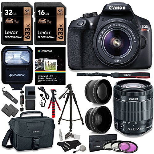 Canon T6 Digital Rebel SLR Camera Kit with EF-S 18-55mm f/3.5-5.6 IS II Lens, 32GB, 16GB 633x Memory Card, Canon Bag and Premium Accessory Bundle by Ritz Camera