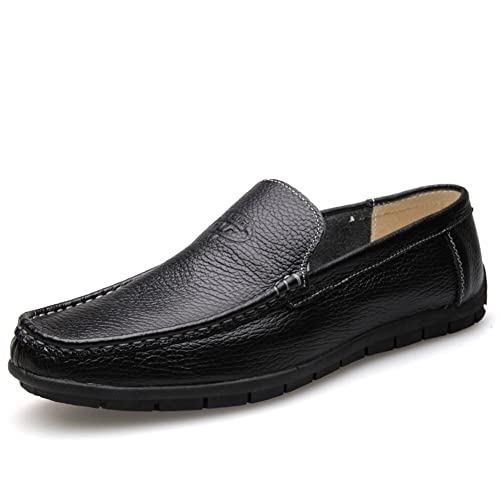Shoes Men's Shoes Summer Loafers & Slip-Ons For Casual Black Brown White (Color : Black Size : 38)