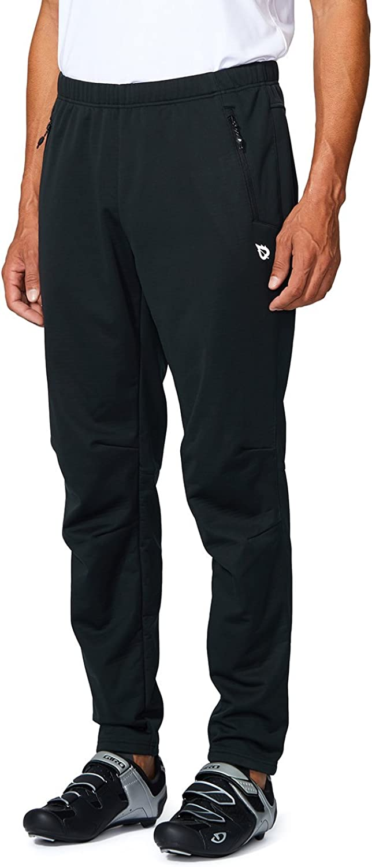 BALEAF Men's Fleece Athletic Sweatpants Jogger Bike Cycling Pants Windproof Thermal Outdoor Pants Zipper Pockets