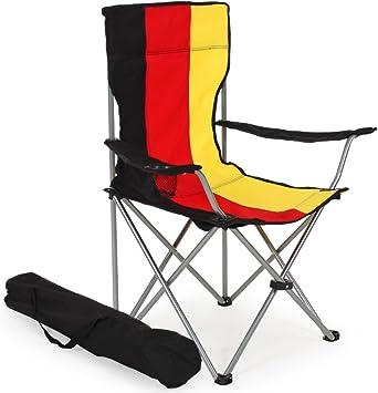 TecTake Silla de Camping Plegable + Portabebidas + Práctica Bolsa de Transporte cantidades - (1x Bandera de Alemania | No. 401056): Amazon.es: Deportes y aire libre