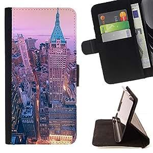 For Sony Xperia Z3 D6603 Case , Ny NYC New York Arquitectura Arquitectura- la tarjeta de Crédito Slots PU Funda de cuero Monedero caso cubierta de piel