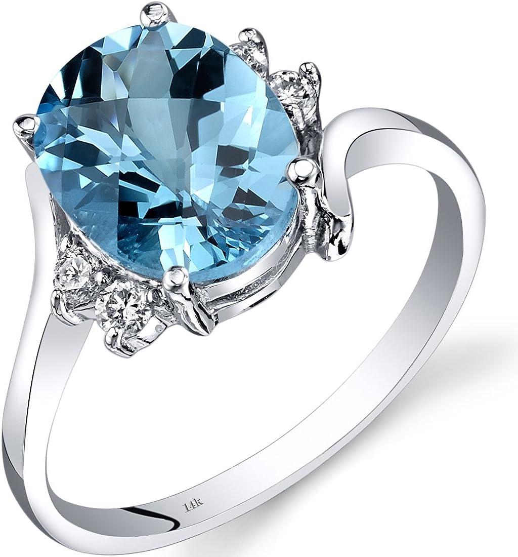 Amazon Com 14k White Gold Swiss Blue Topaz Diamond Bypass Ring 2 75 Carat Jewelry