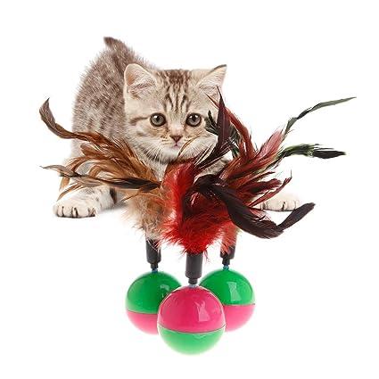 ecmqs juguete vaso para gato – Juguetes Animales balón redondo Shake Toy gatito decoración de plumas