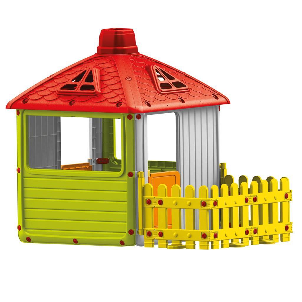 Dolu XXL Kinder Haus Magic Spielhaus mit Zaun Spaßhaus Gartenhaus 132x158x104