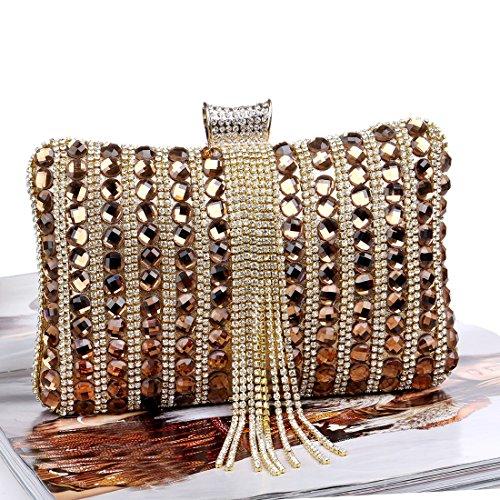 Femmes Perlé TuTu Sacs Mariage Sac Pochette Soirée gold Main Couleur De Mode Métal Diamants Messenger Bonbons Gland De À E55rq4