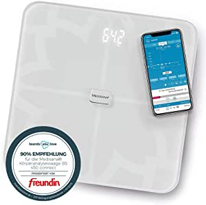 Medisana BS 450 connect báscula analítica digital de 180 kg, báscula personal para medir la grasa corporal, el agua corporal, la masa muscular, el ...