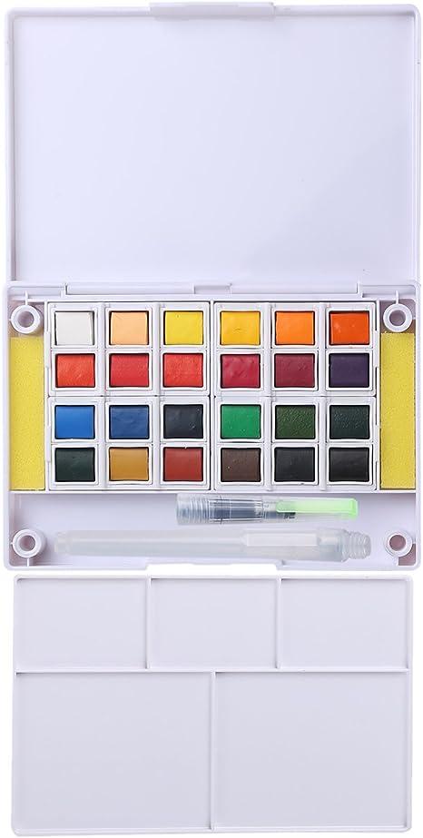 MEEDEN - Mini set de viaje de acuarelas, estuche portátil de acuarelas que contiene 24 medias pastillas