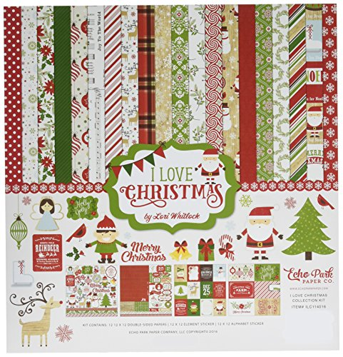 Echo Park Paper Company ILC114016 I Love Christmas Collection Kit Paper Craft Cards Christmas