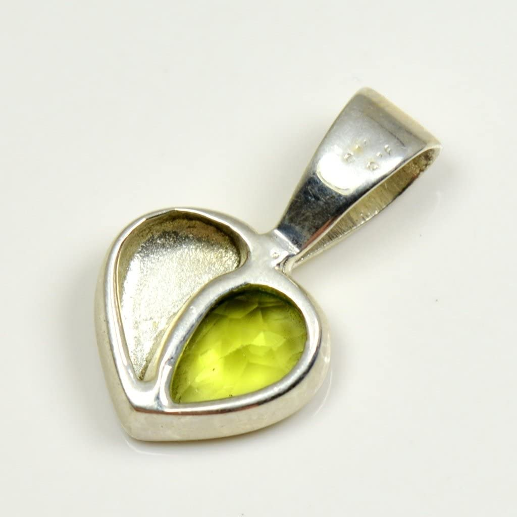 55Carat Natural August Birthstone Peridot Pendant Anniversary Gift 925 Sterling Silver Heart Look Charms