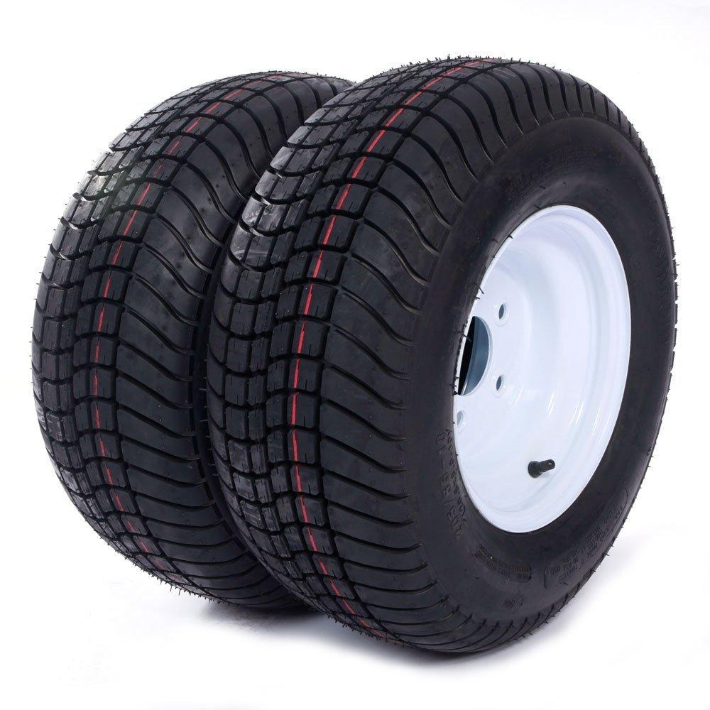 Million Parts Two Trailer Tires Rims 20.5 x 8.0-10-6PR P825 205/65-10 20.5/8-10 20.5/800-10 5 Lug White Spoke