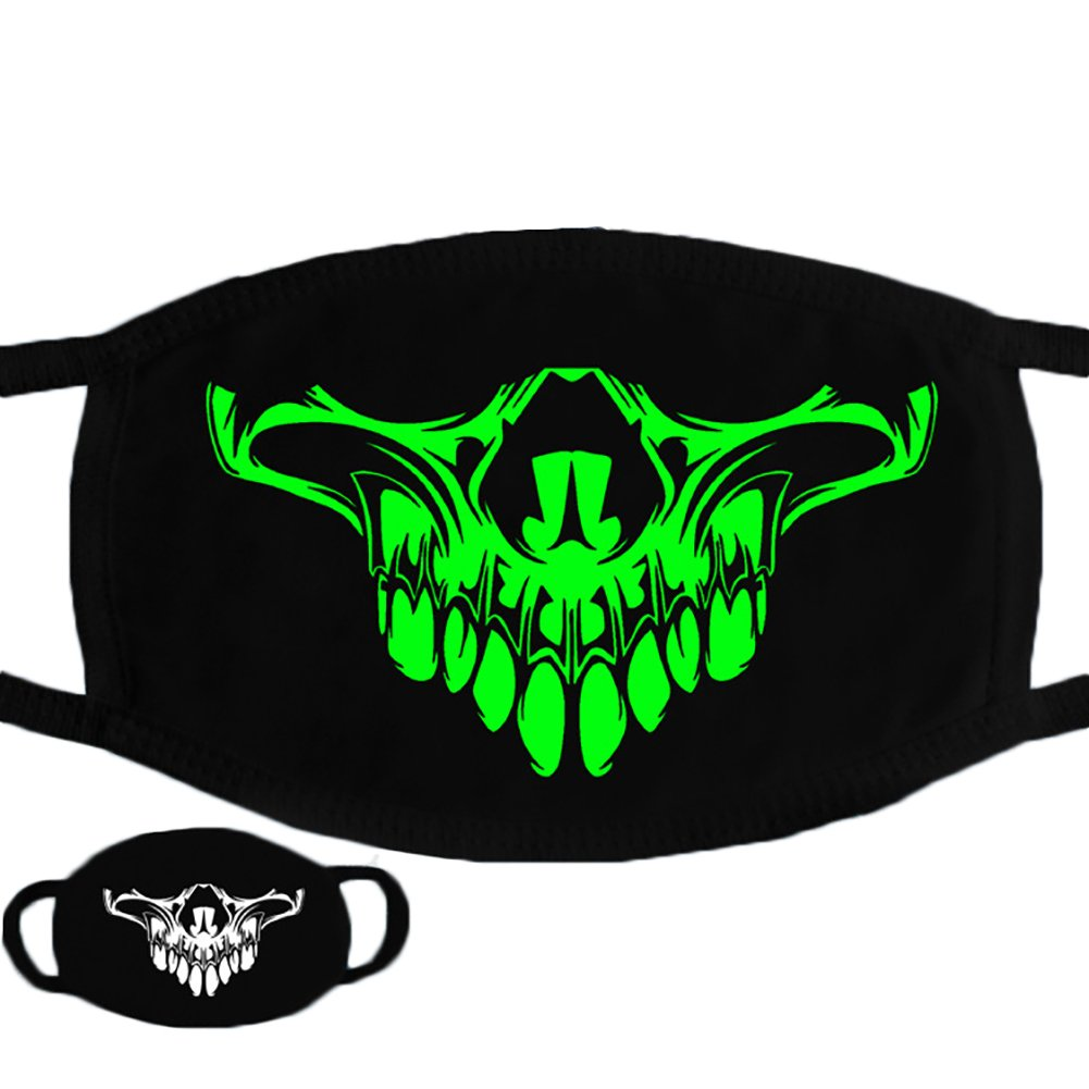 Trenton Halloween Skull Pattern Cool Luminous Unisex Cotton Blend Anti Dust Face Mouth Mask for Man Woman