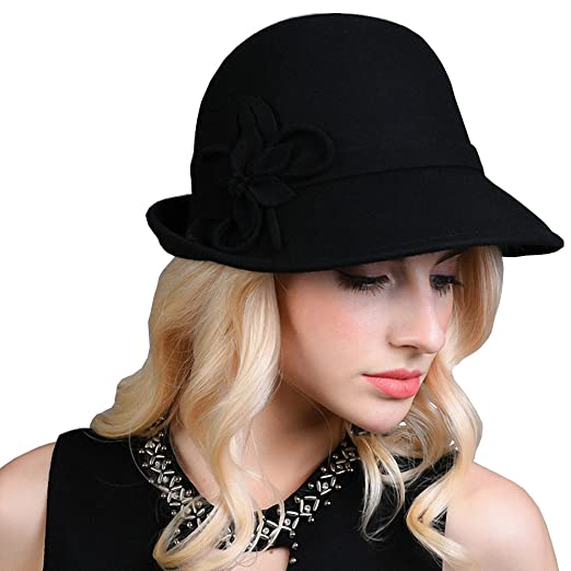 Maitose Women s Decorative Flowers Wool Felt Bucket Hat Black at ... 3bf82eafbd88