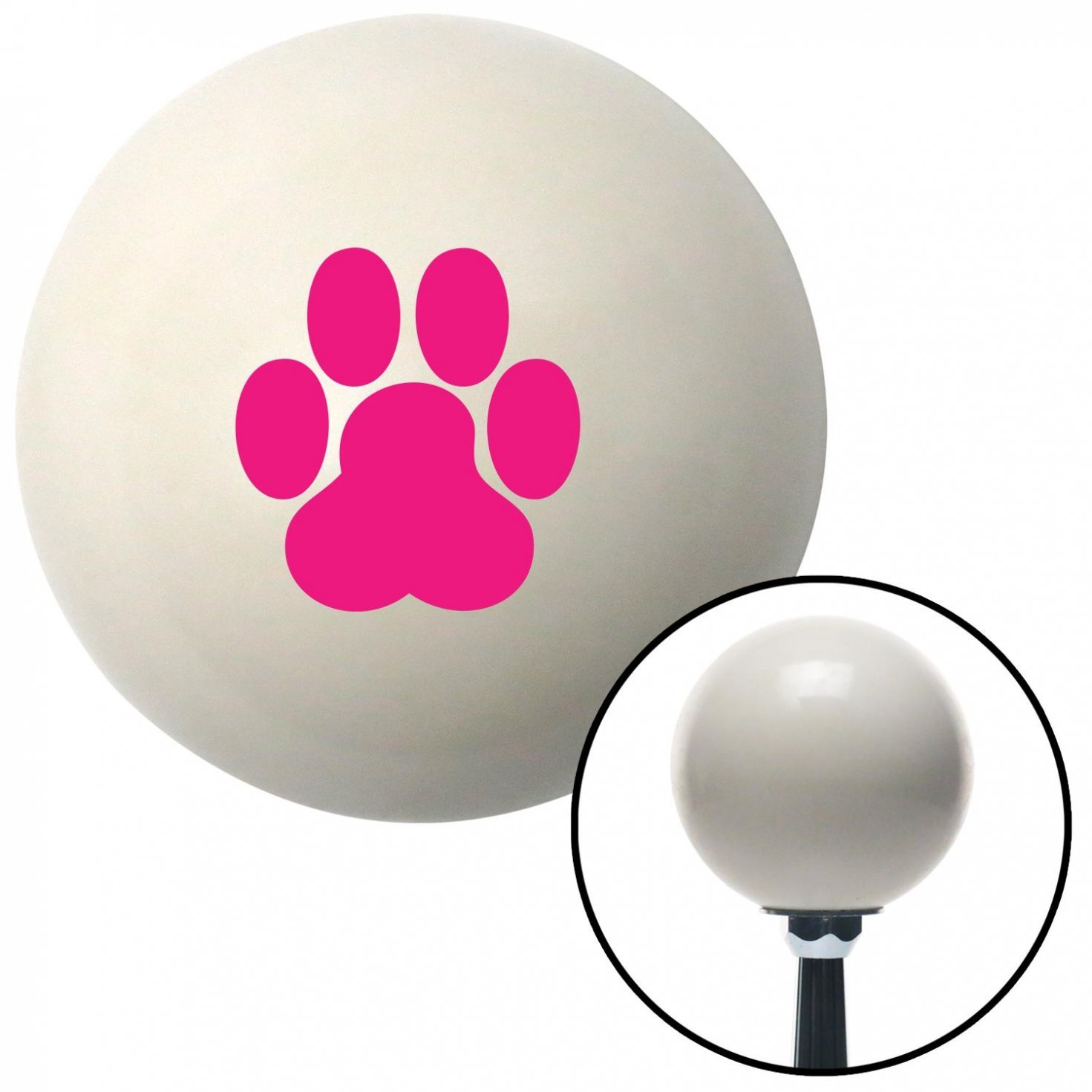 Pink Pawprint American Shifter 41283 Ivory Shift Knob with 16mm x 1.5 Insert