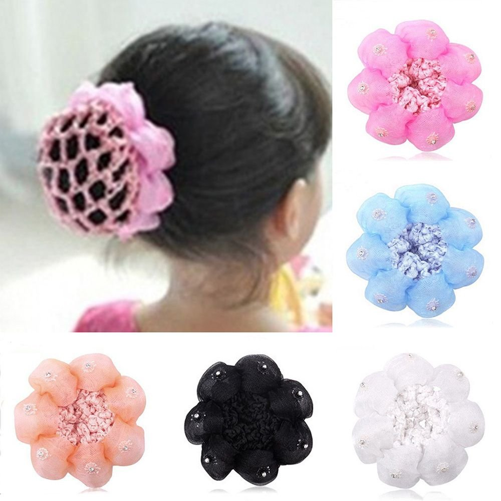 TRYAH 5Pcs Girls Hair Clip Hair Net Ballet Dance Barrettes Net Snood Hairnet Lace Crochet Decor French Hair Clip