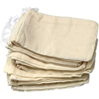 50 Pieces Drawstring Cotton Bags Muslin Bags, 4 x 6 Inches