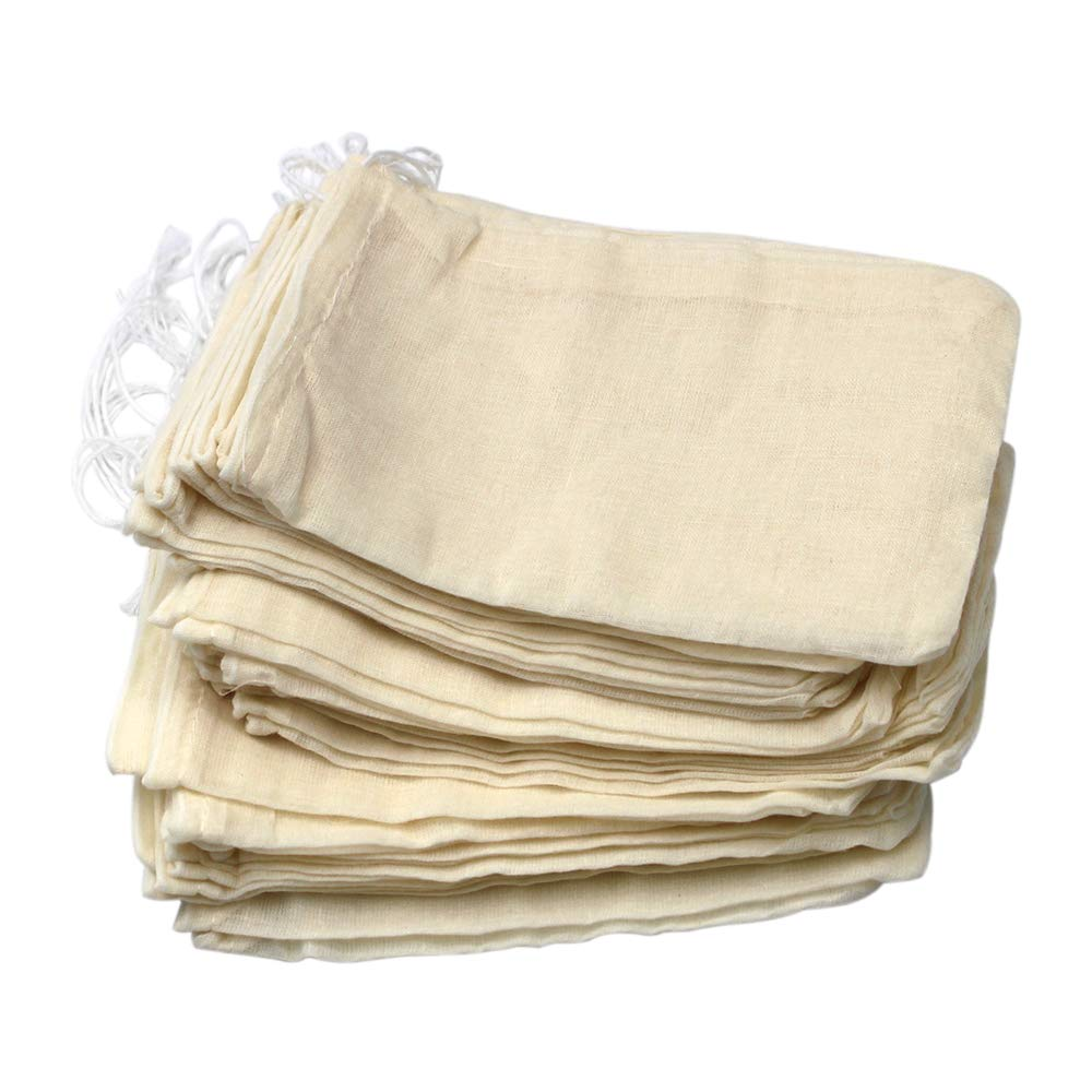 50 Pieces Drawstring Cotton Bags Muslin Bags, 4 x 6 Inches by Erlvery DaMain