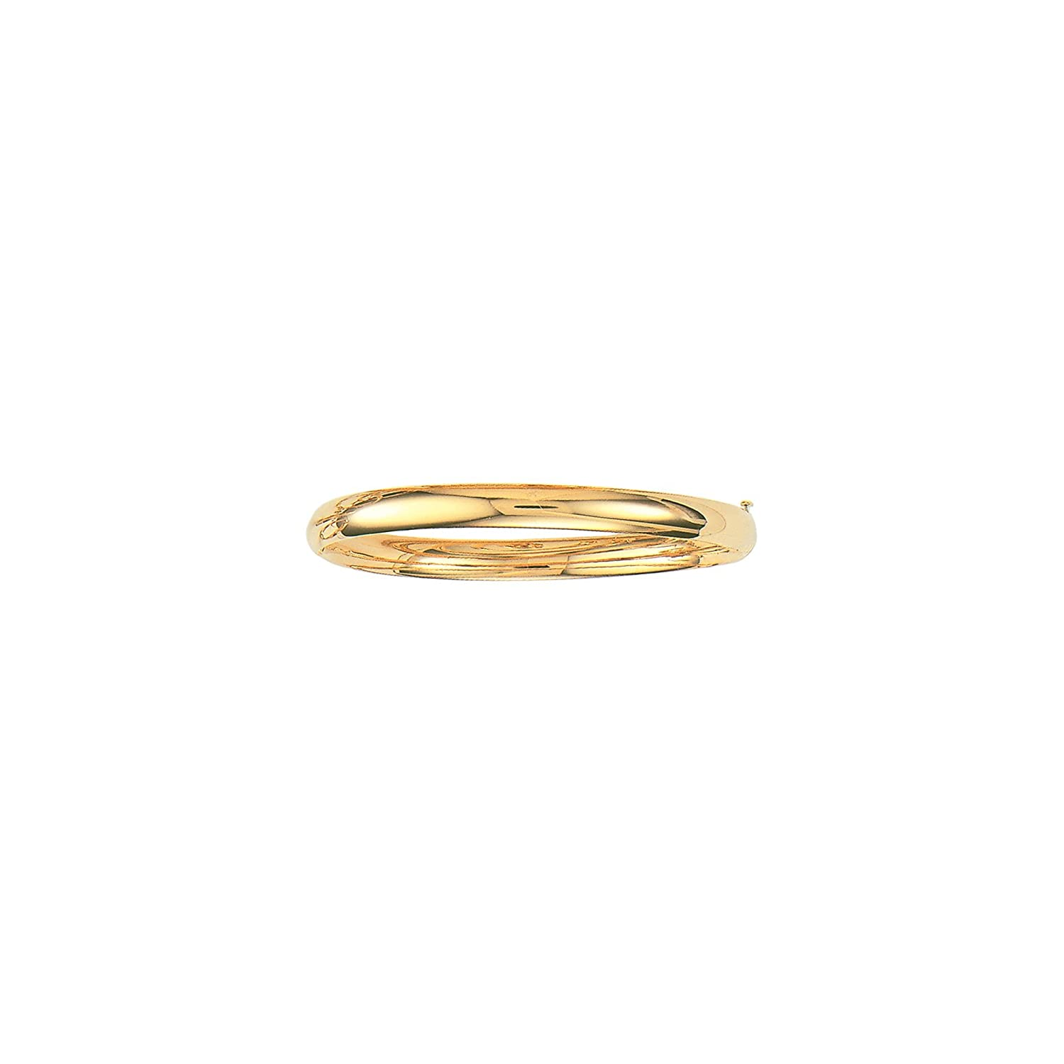 14K Yellow Gold Plain Shiny Round Dome Classic Bangle with Clasp 8, 6.0 mm