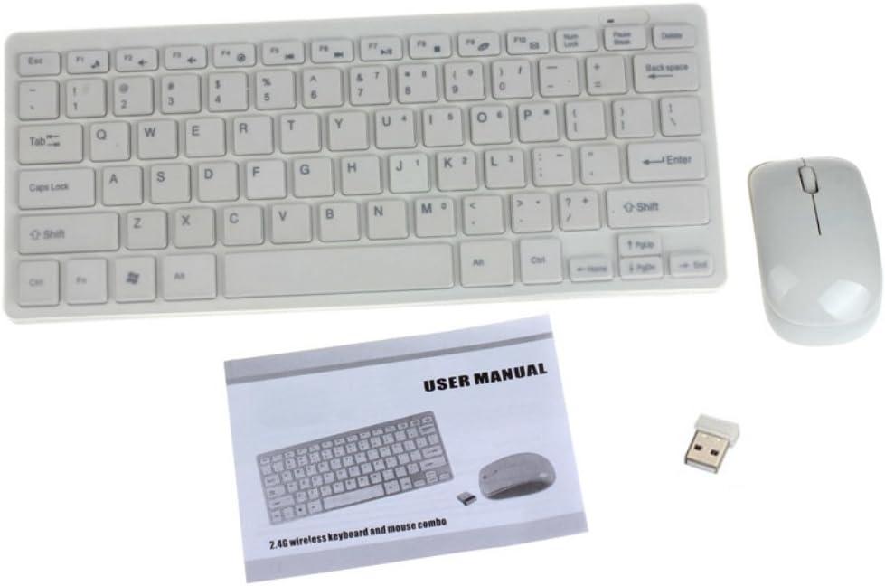 Ultra Slim Mini 2.4G Wireless Keyboard Mouse Kit para PC portátil, Ba Zha Hei, Pack de Teclado y ratón Wireless Classic Desktop - Pack de Teclado y ratón 2.4 GHz, Receptor USB, Color Negro y balanco