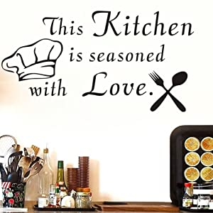 "JIUZI Wall Sticker Quotes This Kitchen Is Seasoned With Love Cutlery And Chef Hat Wall Sticker Kitchen Removable Home Decor Wall Vinyl Decals Black 16.5""x31.8"""