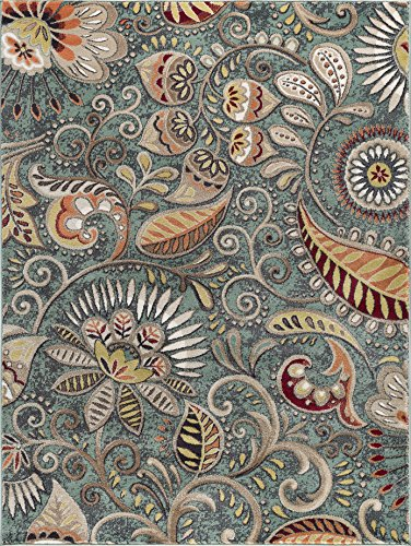 Universal Rugs Giselle Transitional Floral Seafoam Rectangle Area Rug, 8' x 10'