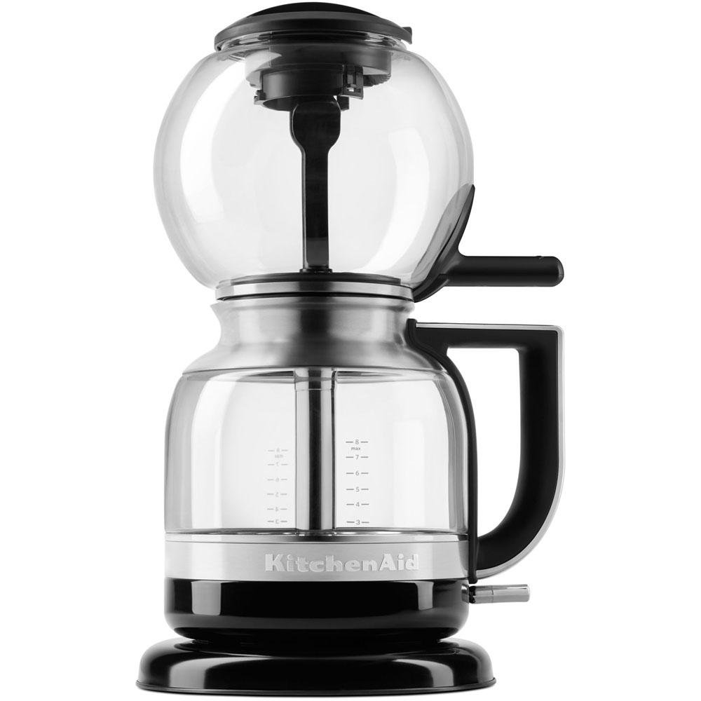 Coffee Brewer 8-Cup Featuring Magnetic Locking Seal, Glass Construction with Stainless Steel Siphon Tube in Onyx Black